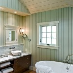 Benjamin Moore Sea Salt for Beach Style Bathroom with Beadboard