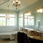 Benjamin Moore Sea Salt for Traditional Bathroom with Bathroom Lighting