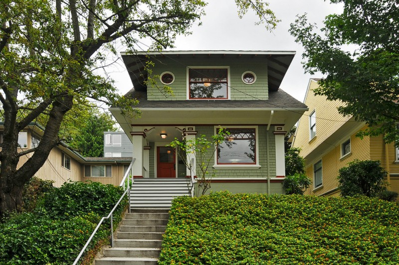 Benjamin Moore Seattle for Craftsman Exterior with Round Windows