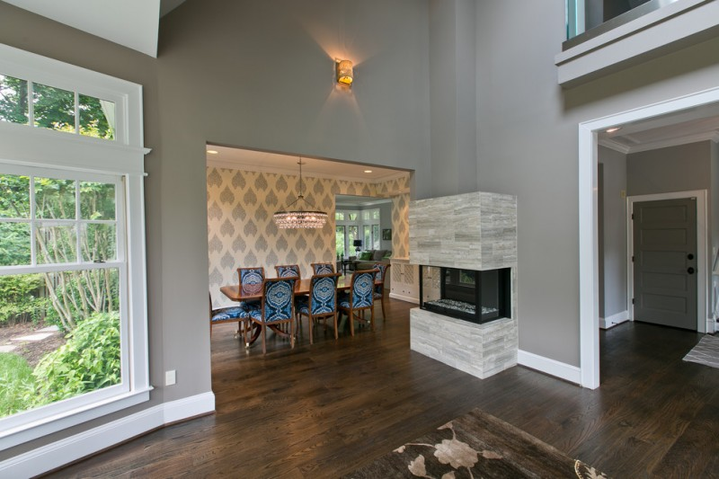 Benjamin Moore Smoke for Contemporary Dining Room with Open Floor Plan