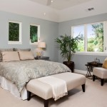 Benjamin Moore Tranquility for Contemporary Bedroom with Indoor Plants