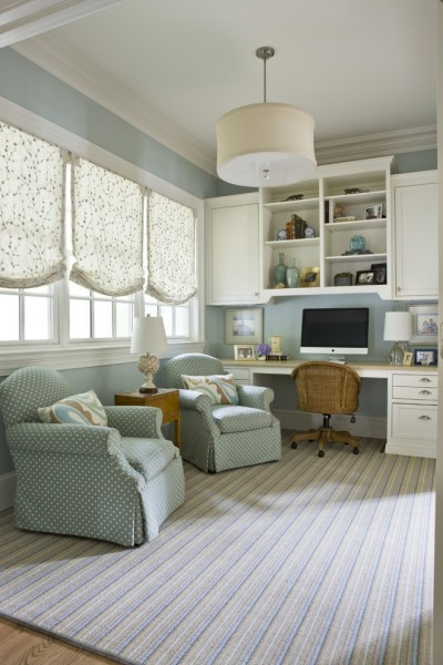 Benjamin Moore Tranquility for Traditional Home Office with Mixed Patterns