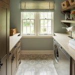 Benjamin Moore Tranquility for Traditional Laundry Room with Floating Shelves
