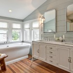 Benjamin Moore Tranquility for Transitional Bathroom with Pedestal Tub