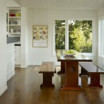 Benjamin Moore White Dove for Transitional Dining Room with Wood Siding