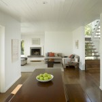 Benjamin Moore White Dove for Transitional Living Room with Wood Ceiling