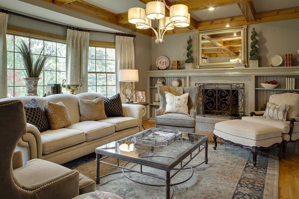 Bernhardt Interiors for Traditional Living Room with Cream