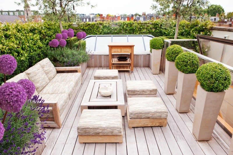 Bif Furniture for Contemporary Deck with Floral Deck