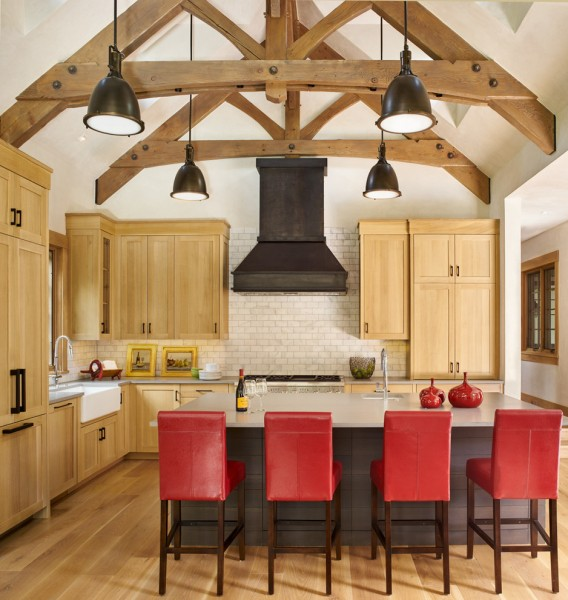 Blackened Steel for Rustic Kitchen with Cathedral Ceiling