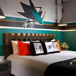 Blackhawk Hardware for Contemporary Kids with Hockey Bedroom