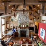 Blackhawk Hardware for Rustic Living Room with Stone Fireplace