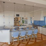 Blue Bahia Granite for Beach Style Kitchen with Wood Inlay