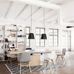 Bo Concept for Scandinavian Dining Room with Black Pendant Lights