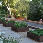 Bocce Ball Court for Contemporary Landscape with Vegetable Garden