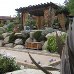Bocce Ball Court for Mediterranean Landscape with Outdoor Curtains