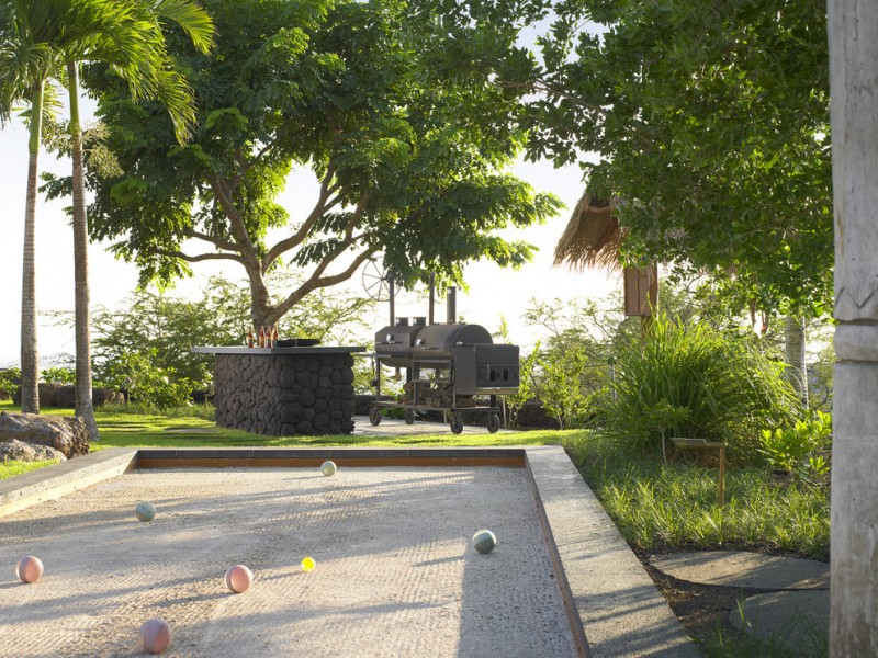 Bocce Court for Tropical Landscape with Gravel
