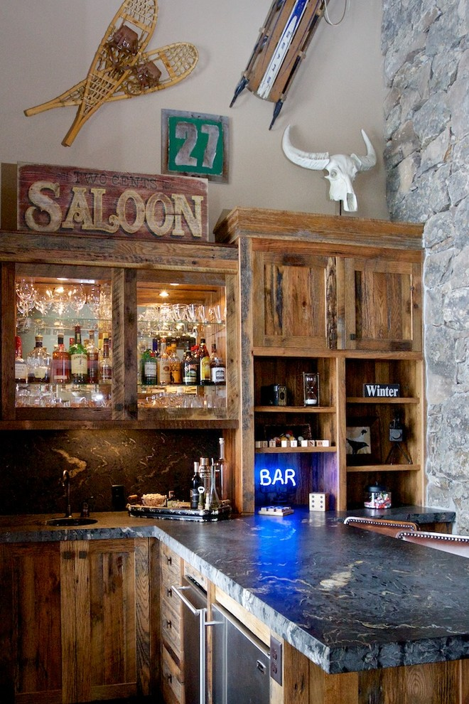 Boise Hunter Homes for Rustic Home Bar with Neon Sign