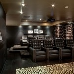 Bonney Lake Theater for Contemporary Home Theater with Black Leather Lounge Chair