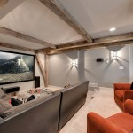 Bonney Lake Theater for Transitional Home Theater with Beamed Ceiling