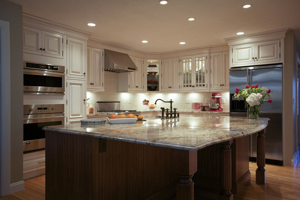 Boston Granite Exchange for Traditional Kitchen with Recessed Lighting