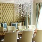 Boyd Lighting for Contemporary Dining Room with Yellow Tufted Wall