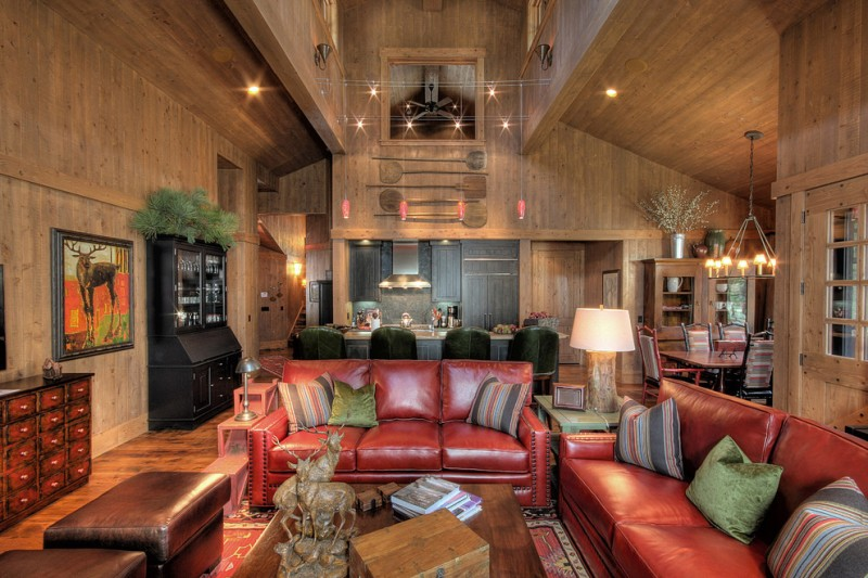 Bravos Pizza for Rustic Family Room with Wood Floor