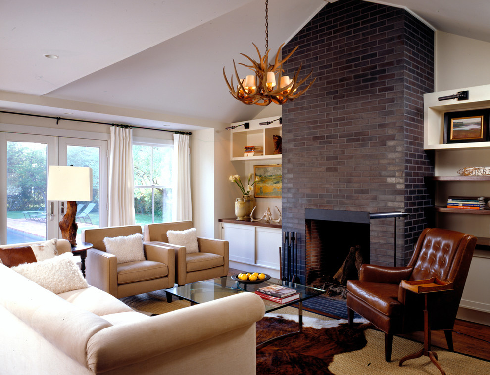 Brick Fireplace Makeover for Farmhouse Family Room with Layered Rugs
