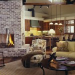 Brick Fireplace Makeover for Farmhouse Living Room with Open Floor Plan
