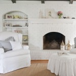 Brick Fireplace Makeover for Shabby Chic Style Living Room with White Paint