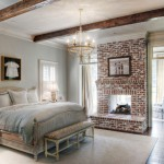 Brick Fireplace Makeover for Traditional Bedroom with Distressed Paint