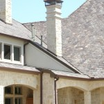 Brick Fireplace Makeover for Traditional Exterior with Slate Roof