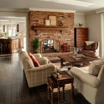 Brick Fireplace Makeover for Traditional Family Room with Kitchen