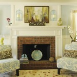Brick Fireplace Makeover for Traditional Living Room with Wainscoting