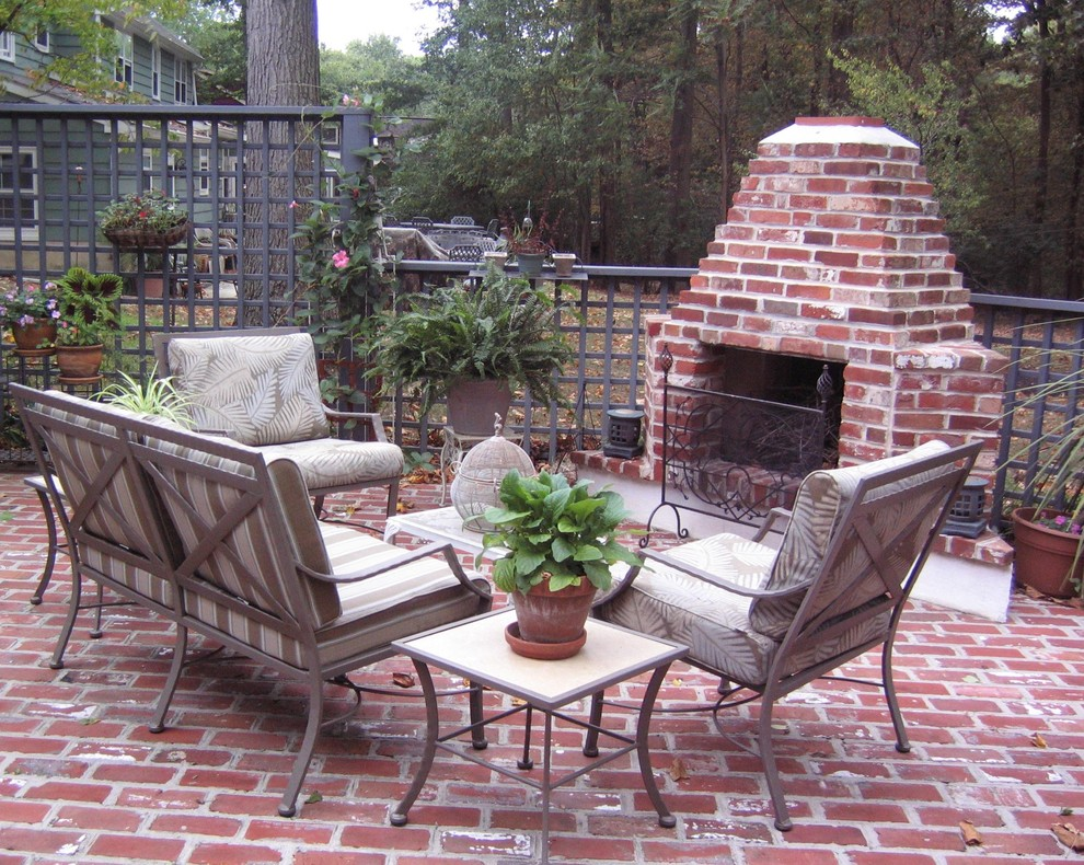 Brick Fireplace Makeover for Traditional Patio with Brick Barbecue