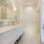 Brizo for Transitional Bathroom with White Shutters