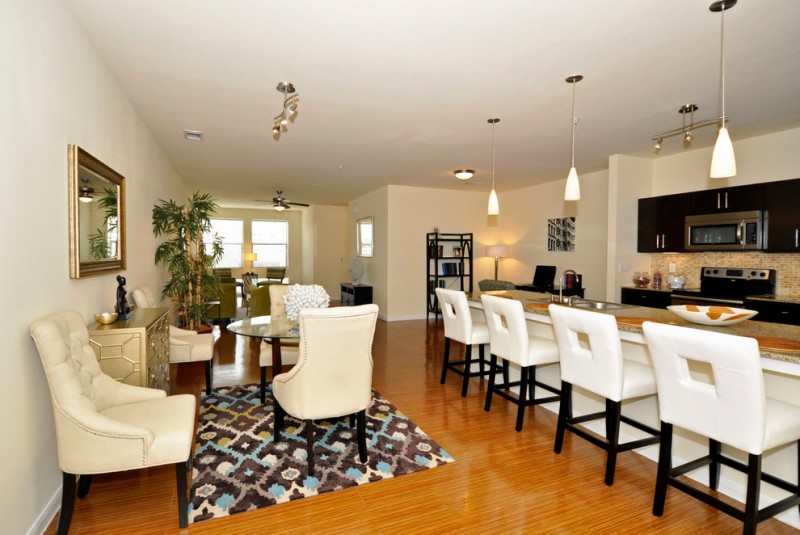 Brook Furniture Rental for Transitional Dining Room with Open Floor Plan