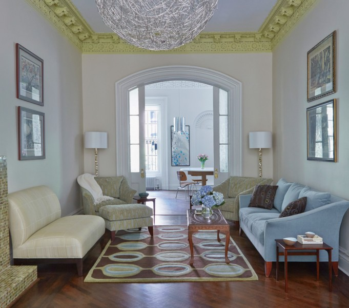 Brooklyn Brownstone for Transitional Living Room with Armchairs