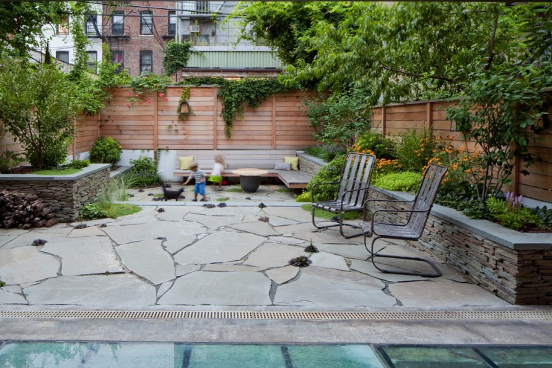 Brownstone Gardens for Contemporary Patio with Service Berry