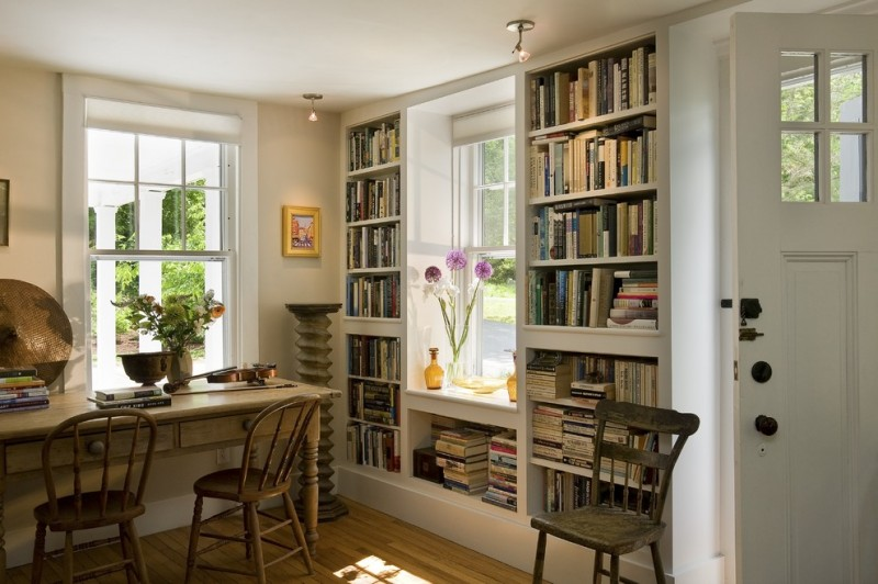 Built in Bookcase Plans for Traditional Living Room with Bookshelf
