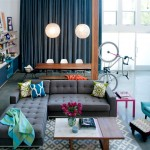Buttercup Furniture for Eclectic Living Room with Blue Curtain