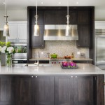 Cabinet Knob Placement for Transitional Kitchen with Dark Brown Cabinets