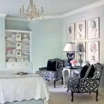 Cabriole for Transitional Bedroom with Black and White Armchairs