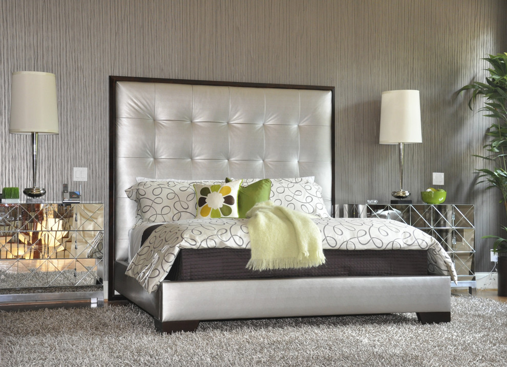 Cal King Bed Dimensions for Contemporary Bedroom with Mirrored Furniture