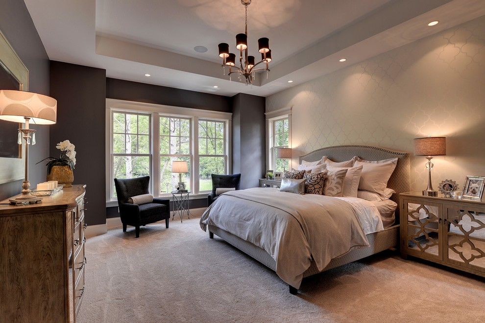 Cal King Bed Dimensions for Traditional Bedroom with Double Hung Windows