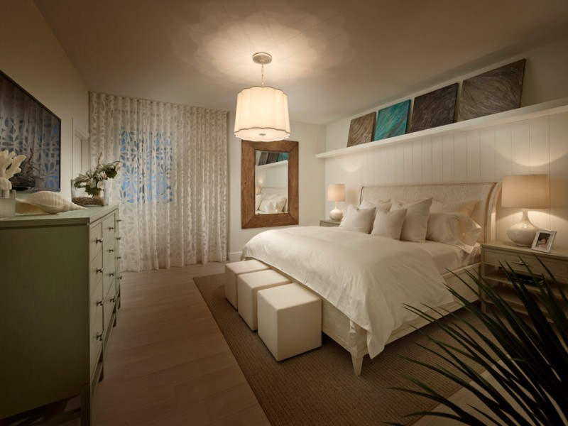 Cal King Dimensions for Beach Style Bedroom with Sheer Curtains