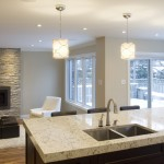 Cambria Countertops for Contemporary Kitchen with Stone Fireplace