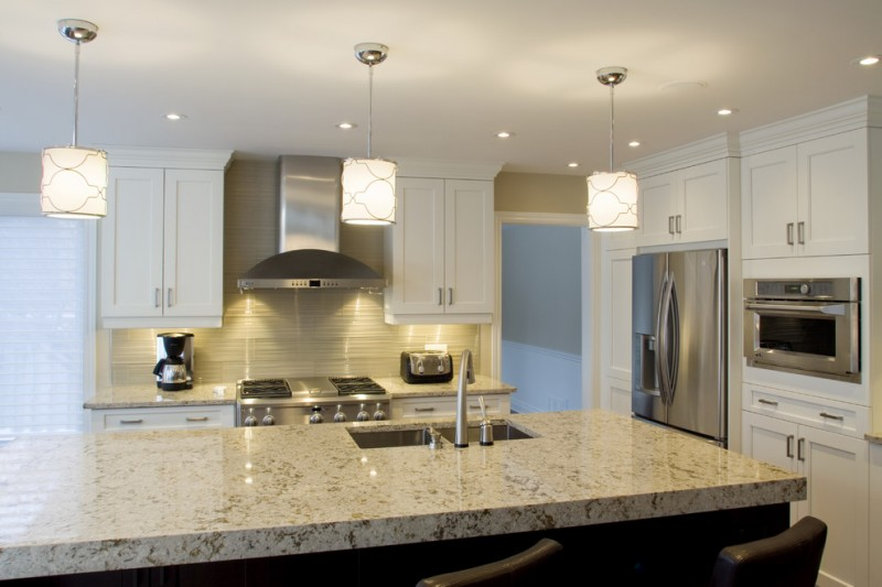 Cambria Countertops for Contemporary Kitchen with Two Tone Cabinetry