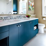 Cancos Tile for Contemporary Bathroom with Blue Cabinets