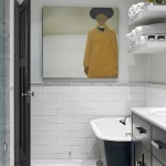 Cancos Tile for Transitional Bathroom with Black Vanity