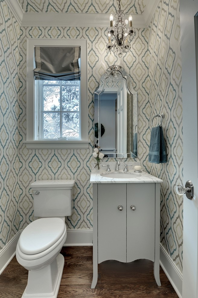 Candice Olsen for Traditional Powder Room with Wallpaper
